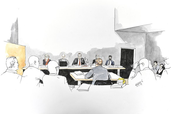 epa06600469 A drawing shows a view into the courtroom with the accused Thomas N. (right outside) during the trial for the quadruple murder of Rupperswil in Schafisheim, Switzerland, 13 March 2018. Thomas N. is accused of the murder of four people, a woman, two boys and a girl with a knife, on 21 December 2015 in a family home in Rupperswill.  EPA/WALTER BIERI