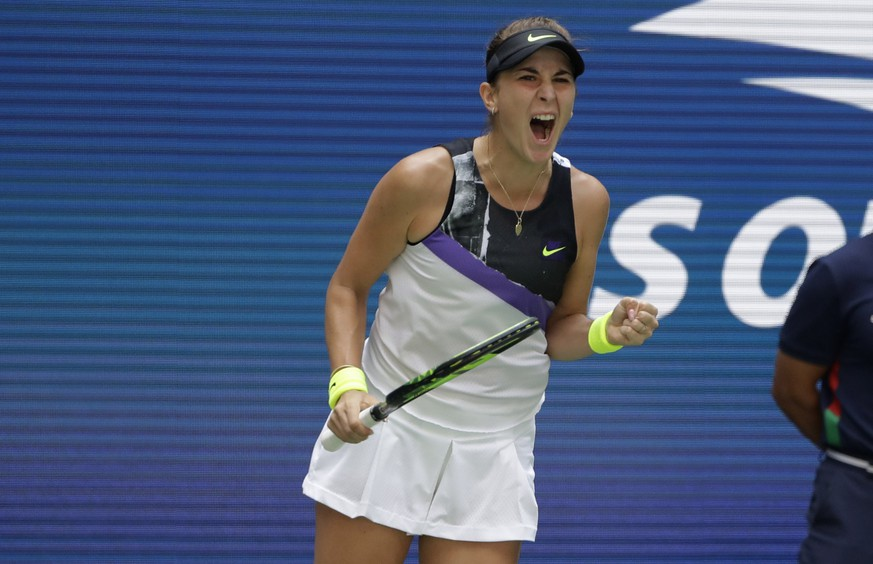 Belinda Bencic, of Switzerland, pumps her fist after winning a point against Donna Vekic, of Croatia, during the quarterfinals of the U.S. Open tennis championships Wednesday, Sept. 4, 2019, in New York. (AP Photo/Frank Franklin II) Belinda Bencic
