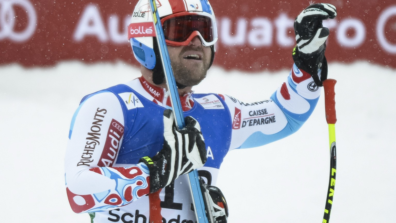 ARCHIVBILD ZUM TOEDLICHEN UNFALL DES FRANZOESISCHEN SKIRENNFAHRERS DAVID POISSON, AM MONTAG, 13. NOVEMBER 2017 - David Poisson of France, bronze medal, reacts in the finish area during the Men's Downhill race at the FIS Alpine World Ski Championships in Schladming, Austria, Saturday, February 9, 2013. The Alpine Skiing World Championships in Schladming take place from 04 to 17 February 2013. (KEYSTONE/Jean-Christophe Bott)