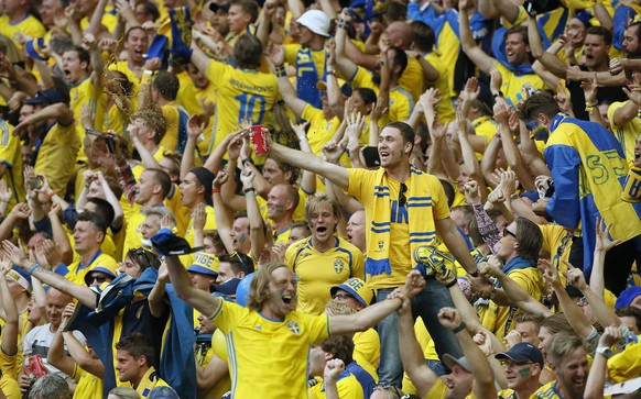 epa05362374 Swedish fans celebrate after the 1-1 own goal by Ciaran Clark of Ireland during the UEFA EURO 2016 group E preliminary round match between Ireland and Sweden at Stade de France in Saint-Denis, France, 13 June 2016.