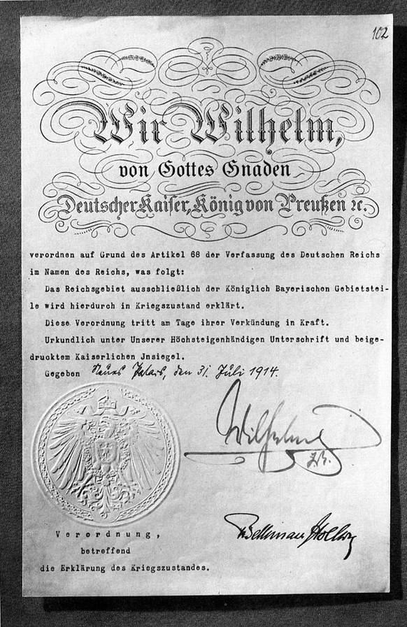 kriegszustand erster weltkrieg deutschland kaiser wilhelm II. wikipedia/pd