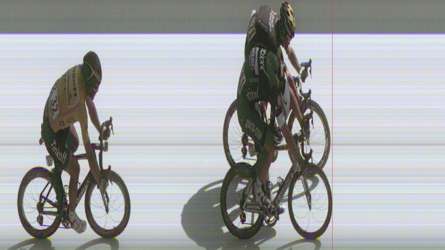 In this photo finish image released by A.S.O. Tuesday, July 5, 2016, Germany's sprinter Marcel Kittel, bottom right, pushes his bicycle over the finish line ahead of second placed Brian Coquard of France, top right, and third placed Peter Sagan of Slovakia, left, to win the fourth stage of the Tour de France cycling race over 237.5 kilometers (147.3 miles) with start in  Saumur and finish in Limoges, France. (A.S.O. via AP)