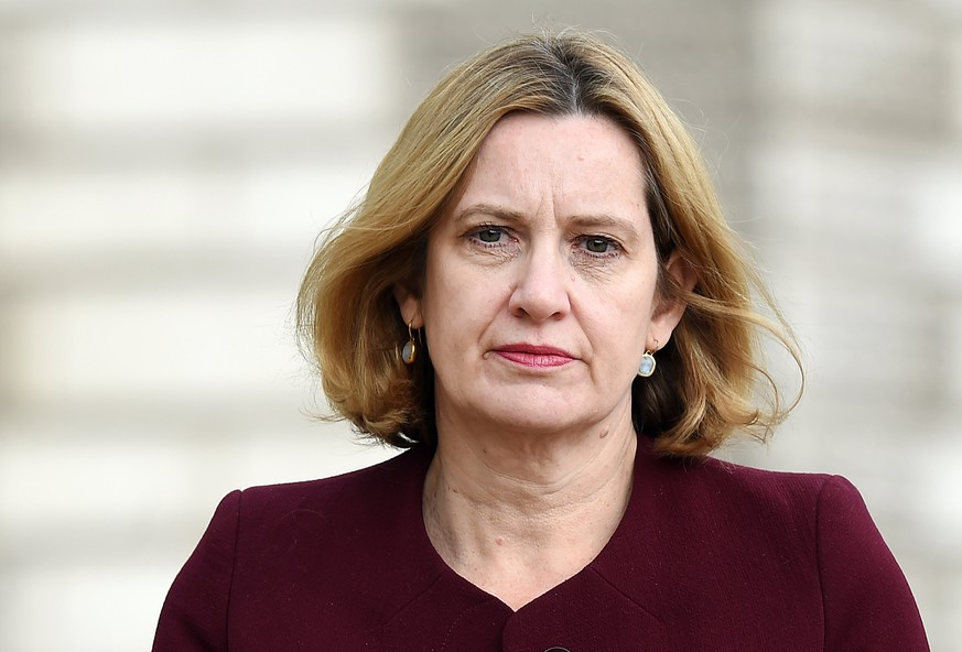 epa06701873 (FILE) -  Britain's Home Secretary Amber Rudd in central London, Britain, 24 April 2018. Britain's Home Secretary Amber Rudd leaves after attending a Cabinet meeting at Downing Street in central London, Britain, 24 April 2018 issued 29 April 2018). Home Secretary Amber Rudd resigns after Windrush scandal.  EPA/ANDY RAIN