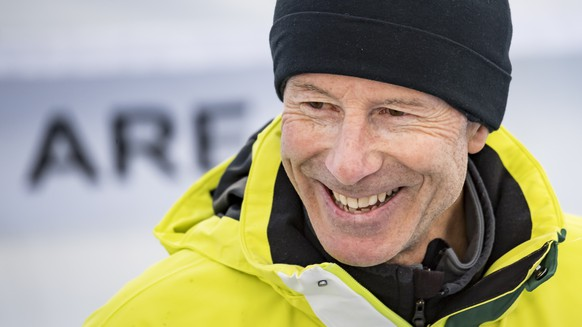 Ski legend Ingemar Stenmark of Sweden reacts in the finish area during the women downhill race at the 2019 FIS Alpine Skiing World Championships in Are, Sweden Sunday, February 10, 2019. (KEYSTONE/Jean-Christophe Bott)