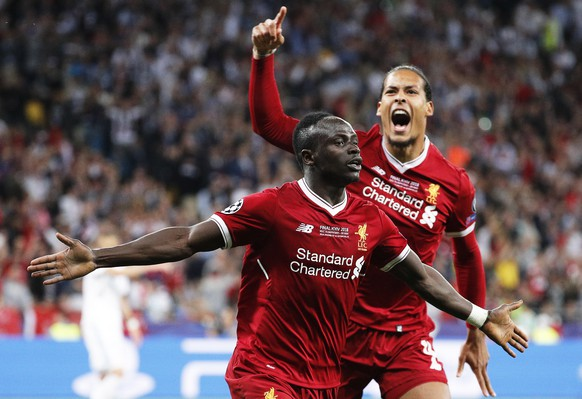 epa06765696 Liverpool's Sadio Mane (L) celebrates with his teammate Virgil Van Dijk (R) during the UEFA Champions League final between Real Madrid and Liverpool FC at the NSC Olimpiyskiy stadium in Kiev, Ukraine, 26 May 2018. EPA/SERGEY DOLZHENKO