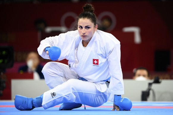 Elena Quirici of Switzerland reacts during the women's karate kumite +61kg fight against Hamideh Abbasali of the Islamic Republic of Iran at the 2020 Tokyo Summer Olympics in Tokyo, Japan, on Saturday, August 07, 2021. (KEYSTONE/Laurent Gillieron)