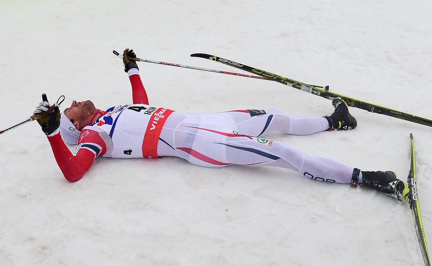 FALUN, SWEDEN - MARCH 01:  Petter Jr. Northug of Norway lies in the snow after winning the gold medal in the Men's 50km Mass Start Cross-Country during the FIS Nordic World Ski Championships at the Lugnet venue on March 1, 2015 in Falun, Sweden.  (Photo by Mike Hewitt/Getty Images)