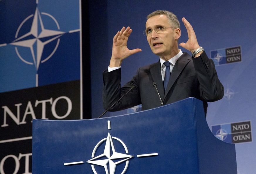 FILE - In this Feb. 16, 2017 file photo, NATO Secretary General Jens Stoltenberg speaks during a media conference at NATO headquarters in Brussels.  The current naval standoff between France and Turkey is shining a spotlight on NATO's struggle to keep its ranks in order and reveals how difficult it is to run the world's biggest military alliance while respecting U.N. resolutions and arms embargoes when members are on different sides in a conflict, as in Libya. (AP Photo/Virginia Mayo, File)