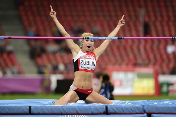 14.Aug.2014; Zuerich; Leichtathletik - EM Zuerich 2014;Linda Zueblin (SUI) Siebenkampf Hochsprung (Andy Mueller/freshfocus)