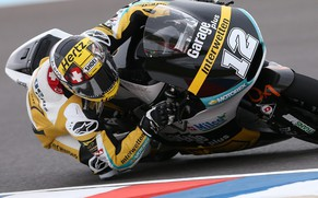 epa04709054 Swiss Moto2 rider Thomas Luethi of Technomag Racing Interwetten team steers his bike during the first training session at Termas de Rio Hondo circuit near Termas de Rio Hondo, Argentina, 17 April 2015. The Motorcycling Grand Prix of Argentina takes place on 19 April 2015.  EPA/NICO AGUILERA