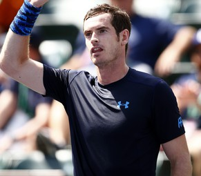 INDIAN WELLS, CA - MARCH 18:  Andy Murray of Great Britain celebrates defeating Adrian Mannarino of France during day ten of the BNP Paribas Open tennis at the Indian Wells Tennis Garden on March 18, 2015 in Indian Wells, California.  (Photo by Julian Finney/Getty Images)