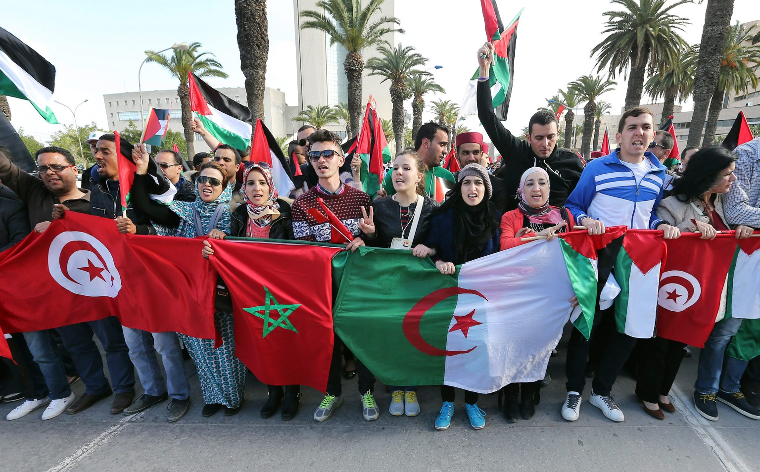 epa04683867 Participants at the 14th World Social Forum (WSF) hold (L-R) the flags of Tunisia, Morocco, Algerian, and Palestine during the closing of the forum's events, Tunis, Tunisia, 28 March 2014. The WSF opened in Tunisia on 24 March, with trade union members and political activists participating in the five-day events, concluding with events on the last day in solidarity with Palestinians.  EPA/MOHAMED MESSARA
