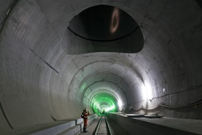 A shaft leads up from the Gotthard Base Tunnel's