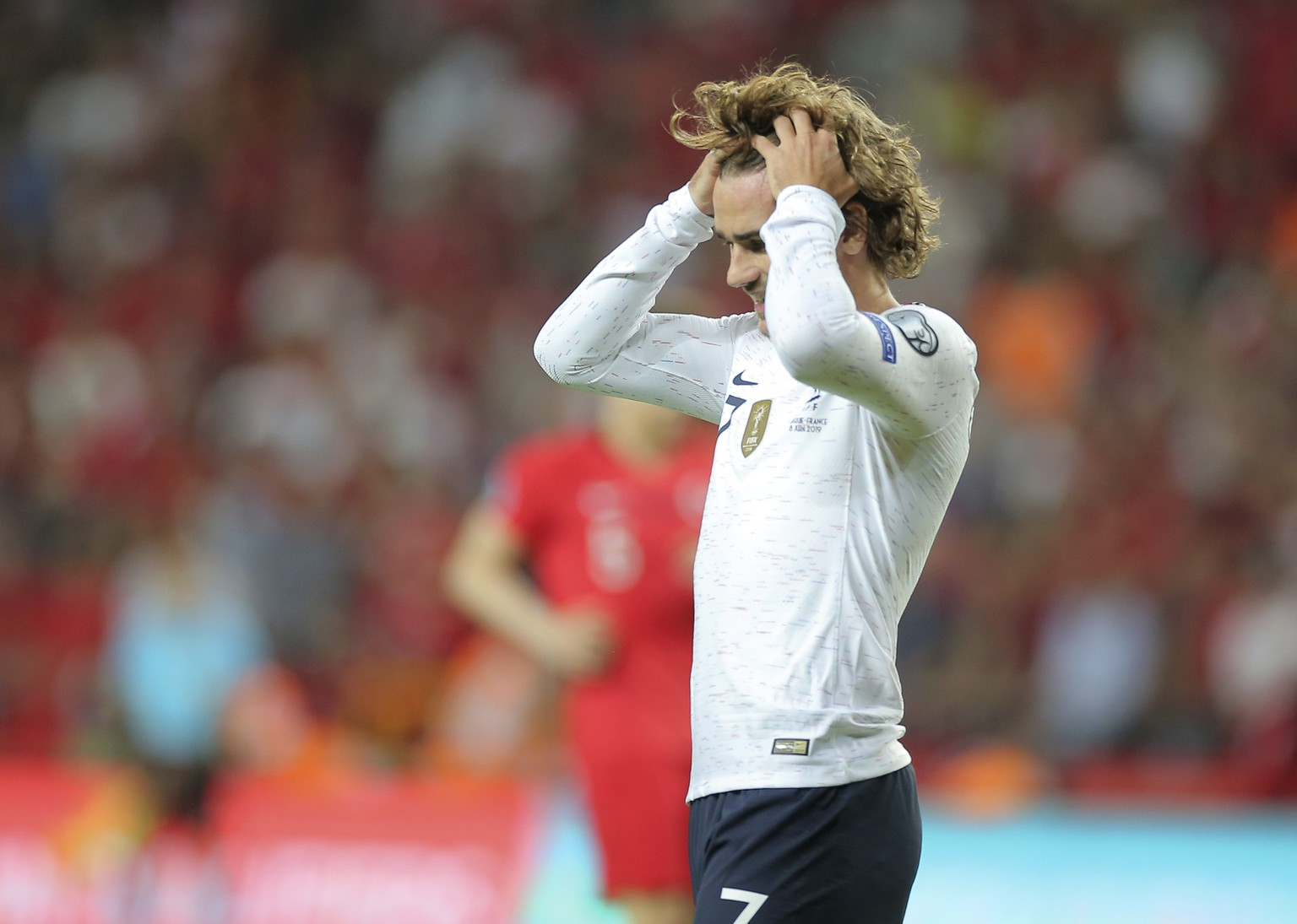 France's forward Antoine Griezmann reacts during the Euro 2020 Group H qualifying soccer match between Turkey and France in Konya, Turkey, Saturday June 8, 2019. (AP Photo)