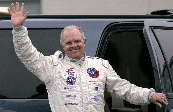 FILE - In this March 17, 2006, file photo, Steve Fossett waves to the crowd at the Salina Municipal Airport,  in Salina, Kan. Fossett is one of many renowned people who've died in a plane crash. Billionaire entrepreneur Fossett disappeared in September 2007 while on a solo flight from a Nevada ranch. A hiker found items belonging to him nearly a year later in a remote part of the Sierra Nevada mountains. He apparently struck a mountainside head-on and died instantly. (AP Photo/Kelly Glasscock, File)