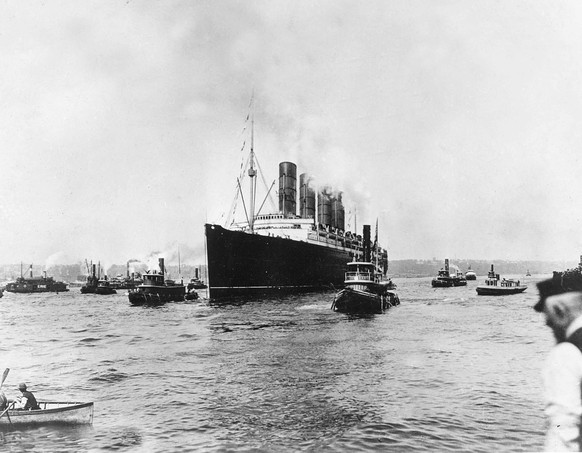 FORTY OF ONE HUNDRED PHOTOS WORLD WAR ONE CENTENARY TIMELINE-In this May 1, 1915 file photo, the British cargo and passenger ship Lusitania as it sets out for England on its last voyage from New York City. The British ocean liner was sunk off Ireland on May 7, 1915 by a German U-Boat, killing 1,150 people, 114 of them Americans.  (AP Photo, File)