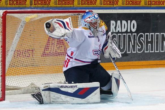13.12.2014; Zug; Eishockey NLA - EV Zug - Kloten Flyers; Torhueter Jonas Mueller (Kloten) (Patrick Straub/freshfocus)
