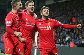 epa04512350 Liverpool's Steven Gerrard ( C )  celebrates his 2-1 goal with Liverpool's Adam Lallana ( R ) and Liverpool's Jordan Henderson during the English Premier League football match played between Leicester City FC and LiverpoolFC at King Power Stadium, Leicester, Britain, 02 December 2014.  EPA/KIERAN GALVIN DataCo terms and conditions apply. http//www.epa.eu/downloads/DataCo-TCs.pdf