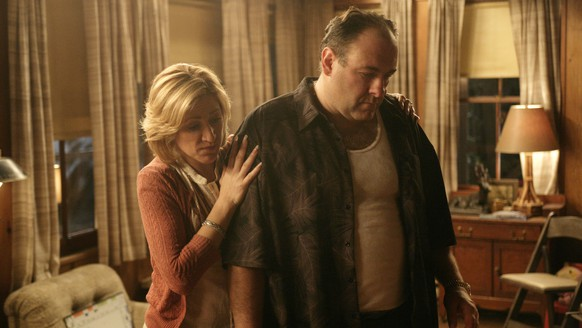 FILE - In this file photo, originally released by HBO in 2007, Edie Falco portrays Carmela Soprano and James Gandolfini is Tony Soprano in a scene from one of the last episodes of the hit HBO dramatic series