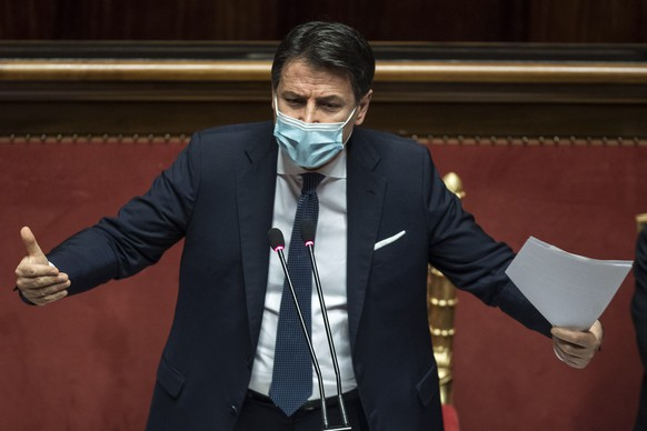 epa08965121 (FILE) Italian Prime Minister Giuseppe Conte during a debate in the Senate in Rome, Italy, 19 January 2021 (reissued 25 January 2021). According to reports, Italian Prime Minister Giuseppe Conte will announce his resignation to the ministers on 26 January 2021 during a cabinet meeting. Afterwards, the Premier Conte will go to the President of the Republic Sergio Mattarella to give him the resignation.  EPA/ROBERTO MONALDO / POOL