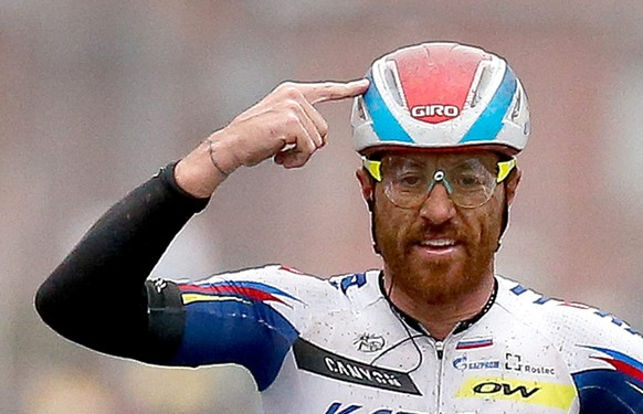 epa04841477 (FILE) Italian Luca Paolini of Team Katusha celebrates on the finish line winning the Gent Wevelgem cycling race, in Wevelgem, Belgium, 29 March 2015.  As media reports 10 July 2015, Paolini was tested positive for cocaine during the tour de France 2015. Paolini has been provisionally suspended, as the Union Cycliste Internationale (UCI) stated.  EPA/JULIEN WARNAND