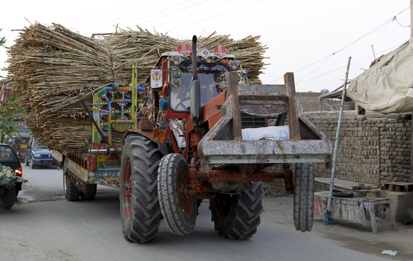 The front wheels of a tractor, pulling a trailer overloaded with sugarcane, are seen lifted off the ground as it passes through the streets of Karor Lan Esan, Pakistan December 6, 2015. REUTERS/Caren Firouz