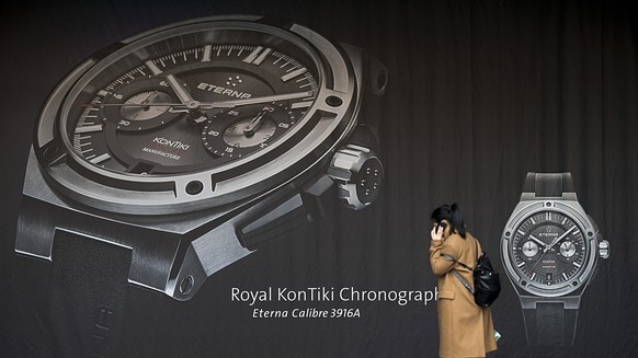 An Eterna display, pictured on the press day at the world watch and jewellery show Baselworld in Basel, Switzerland, on Wednesday, March 18, 2015. (KEYSTONE/Georgios Kefalas)