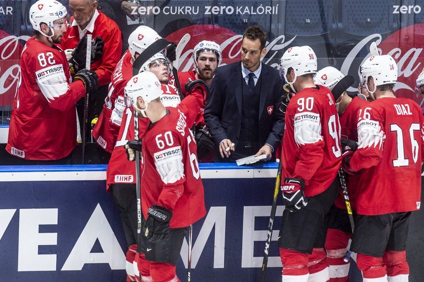 Switzerland`s coach Patrick Fischer during the game between Switzerland and Russia, at the IIHF 2019 World Ice Hockey Championships, at the Ondrej Nepela Arena in Bratislava, Slovakia, on Sunday, May 19, 2019. (KEYSTONE/Melanie Duchene)