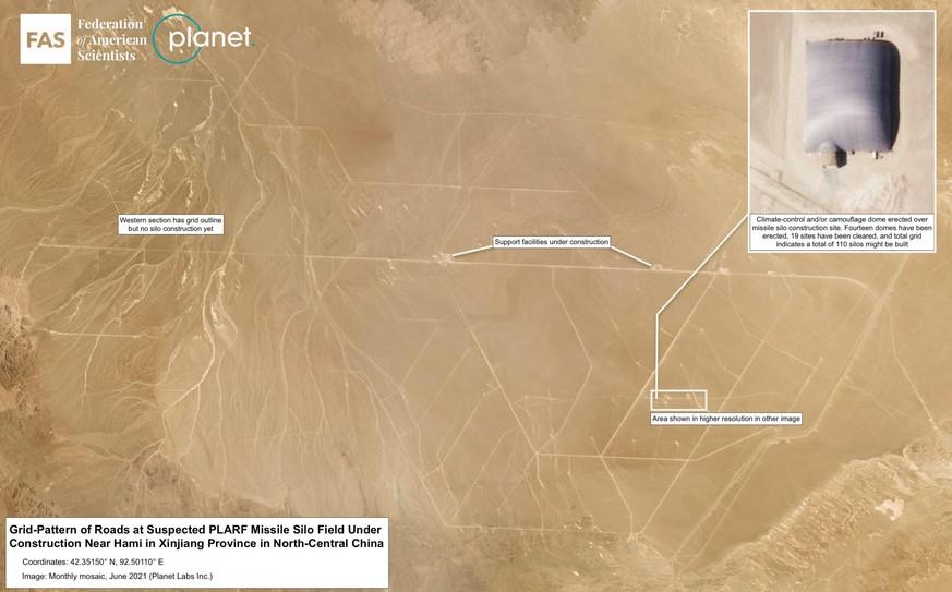 Das Hami-Raketensilofeld hat ein Rastermuster, bei dem die Silos in einem Abstand von etwa 3 Kilometern zueinander stehen.