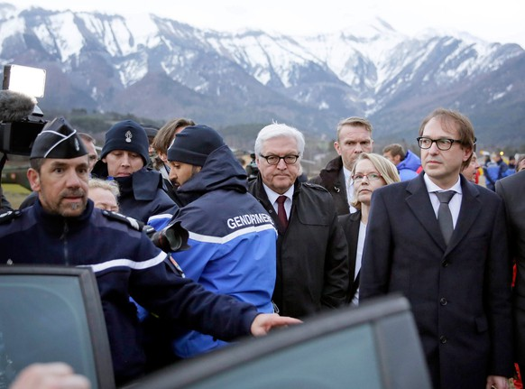 epa04677547 German Foreign Affairs Minister Frank-Walter Steinmeier (C) and German Transport Minister Alexander Dobrindt (R) visit the situation centre, close to the crash site of the Germanwings aircraft, near Seyne Les Alpes, France, 24 March 2015. Germanwings Flight 4U 9525 from Barcelona to Duesseldorf crashed over the Southern Alps in France with 144 passengers and six crew on board, German air traffic control said 24 March.  EPA/Thomas Koehler/Photothek HANDOUT ATTENTION EDITORS: MANDATORY CREDITS AND MENTIONING OF THE SOURCE: 'Photo: Thomas Koehler/photothek.net/Auswärtiges Amt/dpa  EDITORIAL USE ONLY/NO SALES  EDITORIAL USE ONLY/NO SALES  EDITORIAL USE ONLY/NO SALES