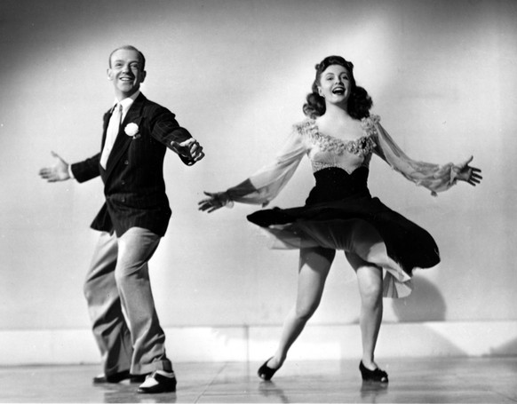 FILE - In this undated photo, Fred Astaire and 18-year-old co-star Joan Leslie perform a dance routine from the 1943 movie