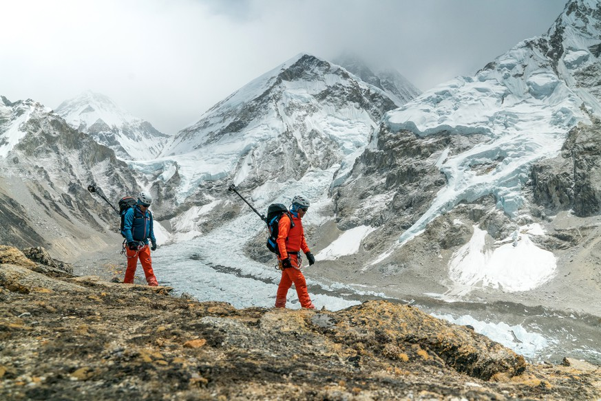 IMAGE DISTRIBUTED FOR MAMMUT - In this image released on Sunday, May 22, 2016, Swiss mountain sports specialist Mammut created a new milestone in virtual mountaineering as two Nepalese mountain guides Lakpa Sherpa (left) and  Pemba Rinji Sherpa became the first men in the world to document the whole South route to the summit of Mount Everest in Nepal with a 360° camera rig. They are pictured testing the camera equipment after the customary Buddhist Puja ceremony took place, where the Sherpa climbers ask the divine Mount Everest for clear passage. Capturing the breathtaking views from the world's highest mountain, Mammut's #project360 has played a pioneering role in bringing the real life Mount Everest experience into peoples' living rooms – without special effects, animations or computer generated images. This spectacular route now can be experienced in breathtaking full 360° panoramas at http://project360.mammut.ch/#home.  (Matthias Taugwalder/Mammut/PHOTOPRESS via AP Images)