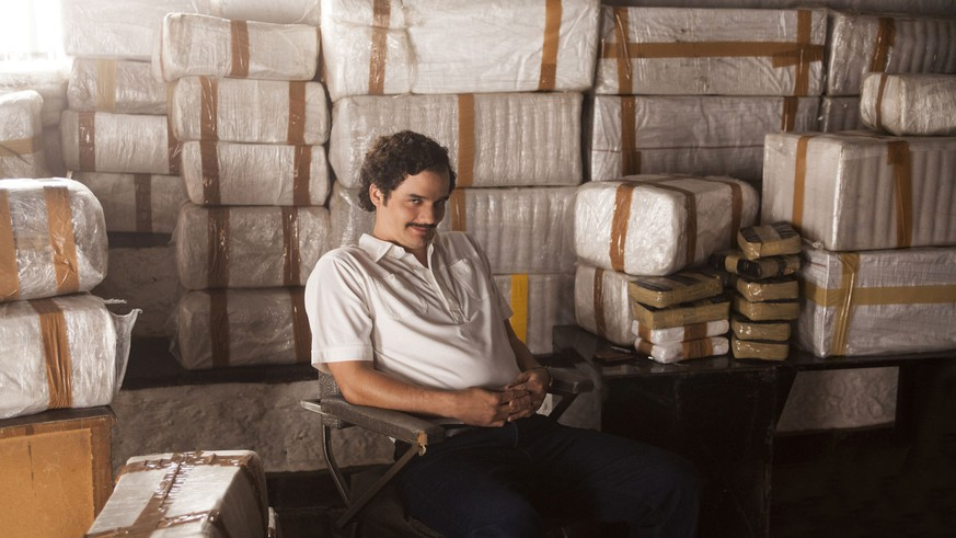 This image released by Netflix shows Wagner Moura as Pablo Escobar in the Netflix Original Series