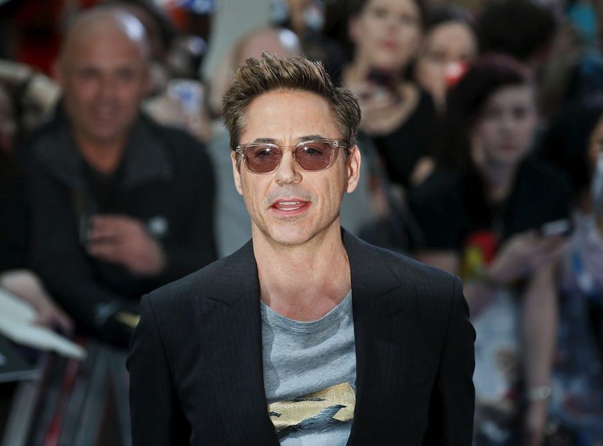 Cast member Robert Downey Jr.  poses at the European premiere of