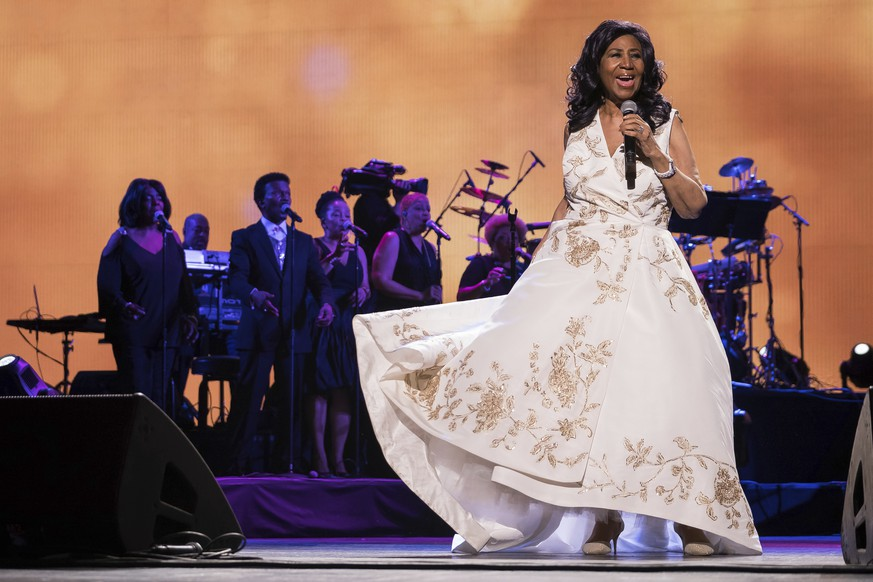 FILE- In this April 19, 2017, file photo, Aretha Franklin performs at the world premiere of