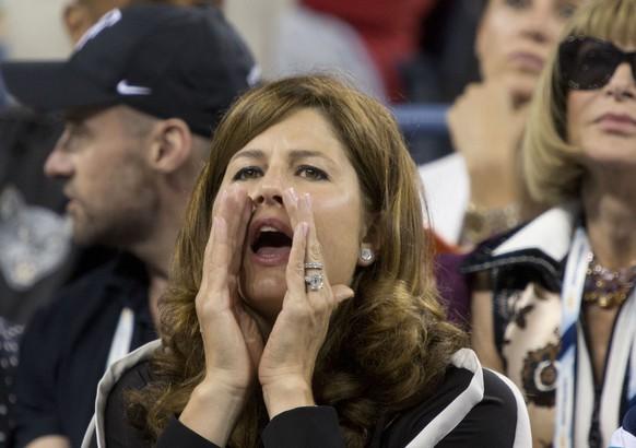 04.09.2014; Flushing Meadows; Tennis - US Open 2014; Mirka Federer (SUI) feuert ihren Mann an (Javier Rojas/Zuma Sports Wire/freshfocus)