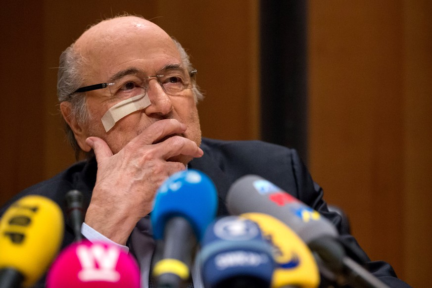 ZURICH, SWITZERLAND - DECEMBER 21: FIFA president Joseph S. Blatter attends a press conference as reaction to his banishment for eight years from all football-related activities by the FIFA ethics committee at FIFA's former headquarters at Sonnenberg in Zurich on December 21, 2015 in Zurich, Switzerland. (Photo by Philipp Schmidli/Getty Images)