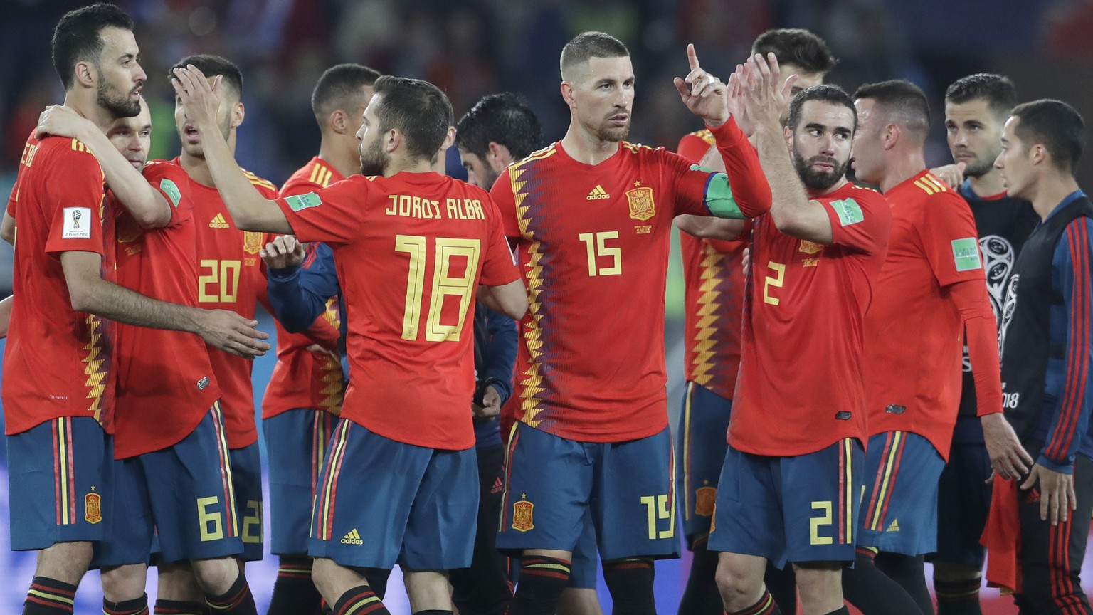 Spain players celebrate after the group B match between Spain and Morocco at the 2018 soccer World Cup at the Kaliningrad Stadium in Kaliningrad, Russia, Monday, June 25, 2018. (AP Photo/Petr David Josek)