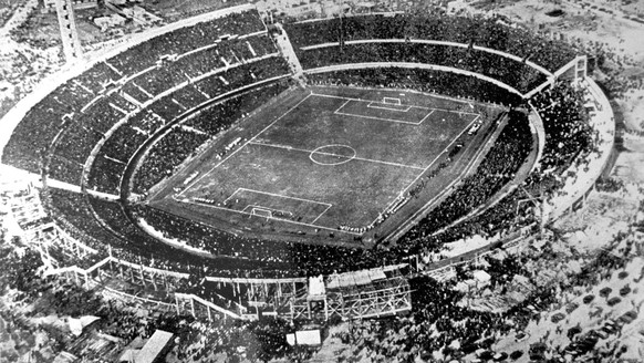 FILE - In this July 30, 1930 file photo, an aerial view of the Centenario stadium in Montevideo, Uruguay. Uruguay defeated Argentina 4-2 in the final of the first soccer World Cup. The 21st World Cup begins on Thursday, June 14, 2018, when host Russia takes on Saudi Arabia. (AP Photo/File)