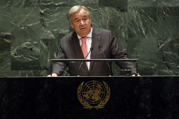 UN Secretary General Antonio Guterres addresses the 74th session of the United Nations General Assembly, Tuesday, Sept. 24, 2019. (AP Photo/Richard Drew) Antonio Guterres