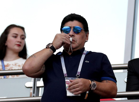 epa06851785 Argentinian soccer legend Diego Maradona during the FIFA World Cup 2018 round of 16 soccer match between France and Argentina in Kazan, Russia, 30 June 2018.