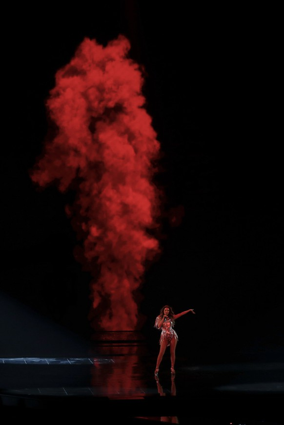 Anxhela Peristeri from Albania performs during rehearsals at the Eurovision Song Contest at Ahoy arena in Rotterdam, Netherlands, Wednesday, May 19, 2021. (AP Photo/Peter Dejong) Anxhela Peristeri