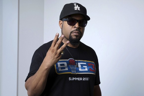 """In this June 20, 2017 photo, rapper and actor Ice Cube poses for a portrait in New York to promote the 25th anniversary re-release of his 1991 solo album, """"Death Certificate."""" (Photo by Amy Sussman/Invision/AP)"""