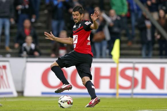 20.05.2015; Aarau; Fussball Super League - FC Aarau - FC Basel; Dante Senger (Aarau). (Christian Boss/freshfocus)