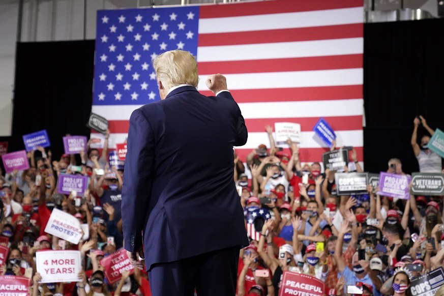 President Donald Trump arrives to speak at a rally at Xtreme Manufacturing, Sunday, Sept. 13, 2020, in Henderson, Nev. (AP Photo/Andrew Harnik) Donald Trump