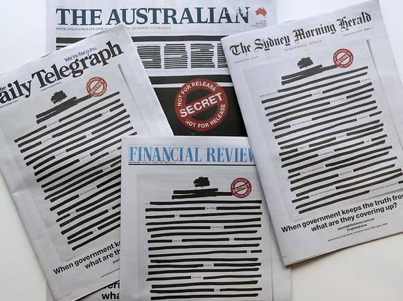 Australien: Warum die Zeitungen geschlossen ihre Titelseiten schwärzen