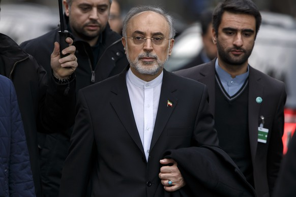 Ali Akbar Salehi, head of Iran's Atomic Energy Organization, leaves the hotel, following a bilateral meeting for a new round of Nuclear Iran Talks, in Geneva, Switzerland, Monday, February 23, 2015. (KEYSTONE/Salvatore Di Nolfi)