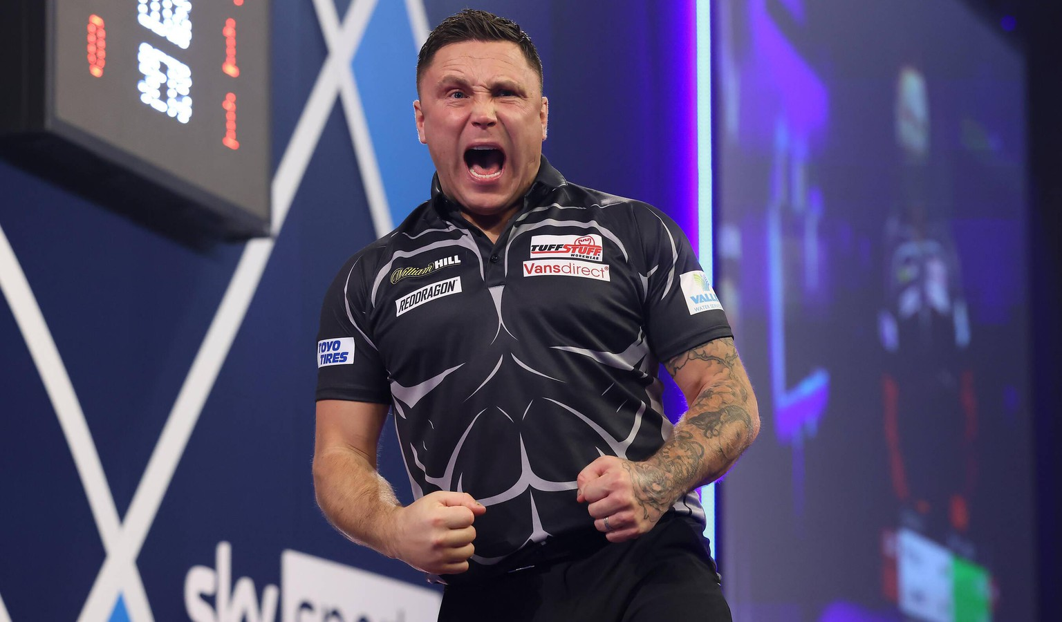 William Hill World Darts Championship 21/12/2020. Gerwyn Price celebrates winning during the William Hill World Darts Championship at Alexandra Palace, London, United Kingdom on 21 December 2020. Editorial use only PUBLICATIONxNOTxINxUK , Copyright: xNigelxKeenex PSI-11379-0067