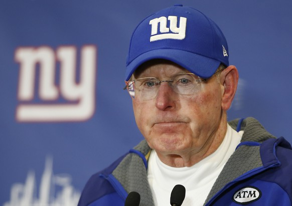 New York Giants head coach Tom Coughlin answers questions during a news conference after the Giants lost 35-30 to the Philadelphia Eagles in an NFL football game, Sunday, Jan. 3, 2016, in East Rutherford, N.J. (AP Photo/Kathy Willens)