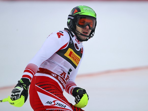 Austria's Michael Matt gets to the finish area after completing the men's slalom, at the alpine ski World Championships in Are, Sweden, Sunday, Feb. 17, 2019. (AP Photo/Marco Trovati)